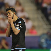 David Villa, NYCFC, reacts in frustration during the New York Red Bulls Vs NYCFC, MLS regular season match at Red Bull Arena, Harrison, New Jersey. USA. 10th May 2015. Photo Tim Clayton