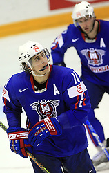 Anze Kopitar and Tomaz Razingar of Slovenia at ice-hockey game Slovenia vs Slovakia at Relegation  Round (group G) of IIHF WC 2008 in Halifax, on May 09, 2008 in Metro Center, Halifax, Nova Scotia, Canada. Slovakia won 5:1. (Photo by Vid Ponikvar / Sportal Images)