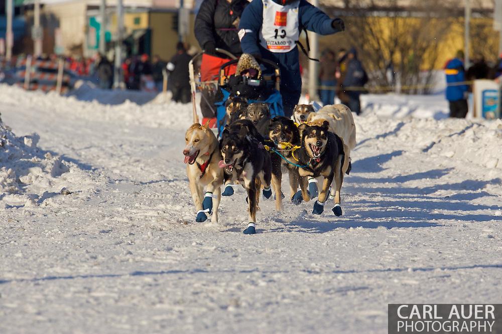 March 7th, 2009:  Anchorage, Alaska: The dog team of Ryan Redington from Wasilla, Alaska at the start of the 2009 Iditarod race.