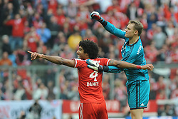 15.02.2014, Allianz Arena, Muenchen, GER, 1. FBL, GER, 1. FBL, FC Bayern Muenchen vs SC Freiburg, 21. Runde, im Bild Freude bei Dante (FC Bayern Muenchen) nach seinem Tor zum 1:0 Rechts Torwart Manuel Neuer (FC Bayern Muenchen) // during the German Bundesliga 21th round match between FC Bayern Munich and SC Freiburg at the Allianz Arena in Muenchen, Germany on 2014/02/15. EXPA Pictures © 2014, PhotoCredit: EXPA/ Eibner-Pressefoto/ Stuetzle<br /> <br /> *****ATTENTION - OUT of GER*****