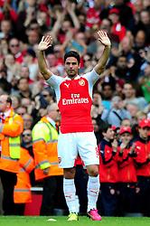 Mikel Arteta of Arsenal waves goodbye at the end of the game - Mandatory by-line: Dougie Allward/JMP - 15/05/2016 - FOOTBALL - Emirates Stadium - London, England - Arsenal v Aston Villa - Barclays Premier League