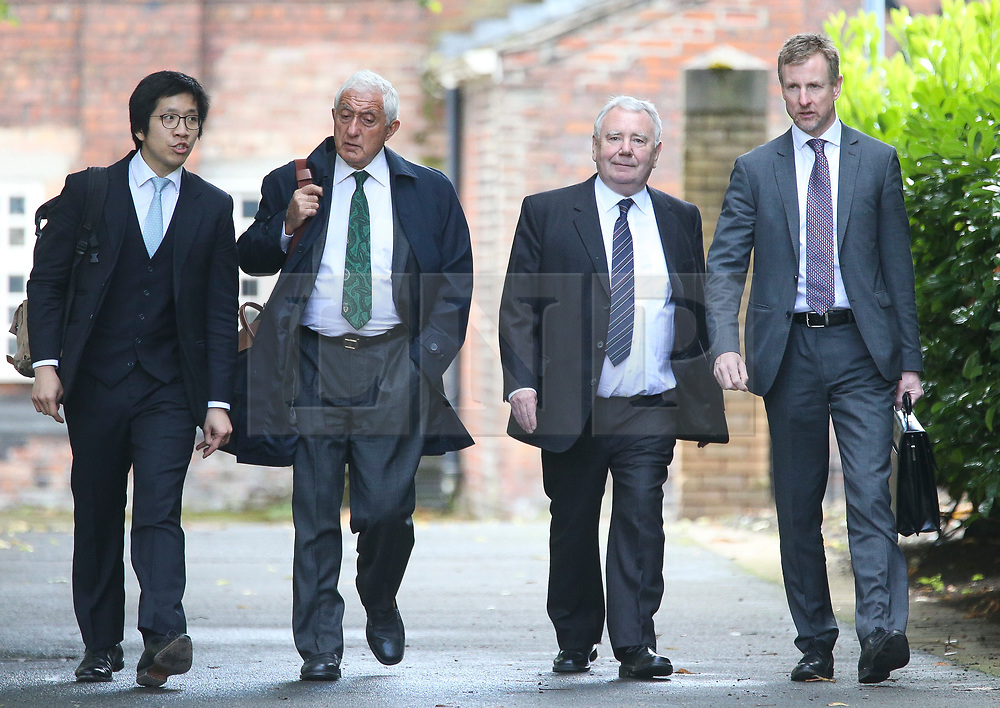 © Licensed to London News Pictures. 09/08/2017. Warrington, UK. South Yorkshire Police solicitor Peter Metcalf (second right) arrives at Warrington Magistrates Court. Former West Yorkshire Police Chief Sir Norman Bettison, former police officers Donald Denton and Alan Foster, South Yorkshire Police solicitor Peter Metcalf, and former Sheffield Wednesday secretary and safety officer Graham Mackrell are appearing at Warrington Magistrates Court today to face charges relating to the Hillsborough tragedy where 96 people died in 1989. Photo credit: Andrew McCaren/LNP