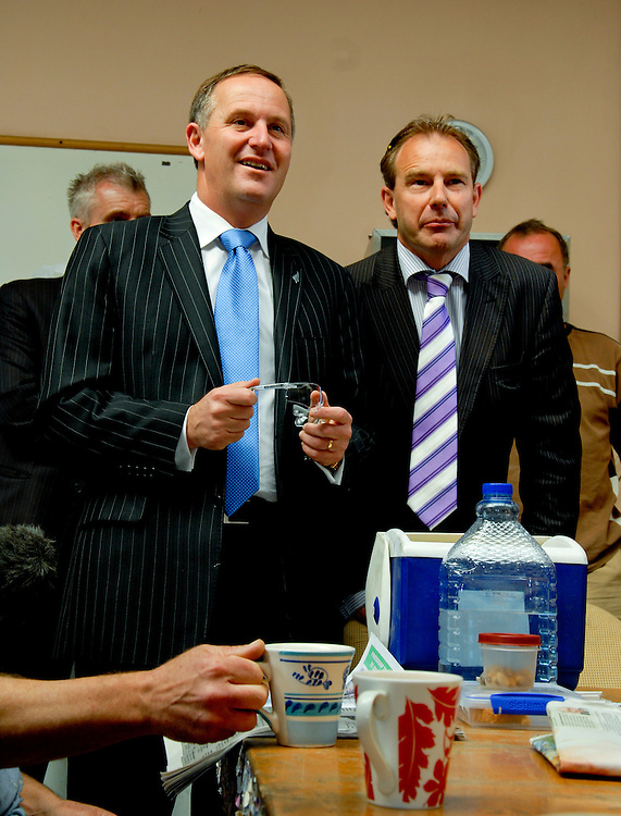 "Prime Minister John Key talking to workers during their morning ""cuppa"" at Circa Marine, Whangarei, New New Zealand, Thursday,  November 17, 2011. Credit:SNPA / Malcolm Pullman"