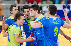 Players of Slovenia celebrate during volleyball match between National Teams of Slovenia and Croatia in 2nd leg of Eurovolley 2013 Qualifications on June 8, 2013 in Arena Stozice, Ljubljana, Slovenia. (Photo By Vid Ponikvar / Sportida)