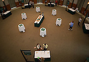 An overhead shot of the Ohio Gurantee Event in Walter Hall Rotunda on Oct. 7, 2014. Photo by Lauren