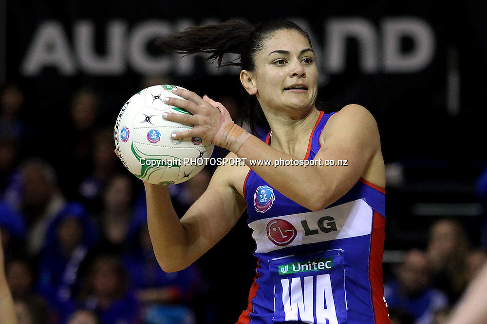 Mystics' Temepara George in action. ANZ Netball Championship, Northern Mystics v NSW Swifts, Trusts Stadium, Auckland, New Zealand. Sunday 1st July 2012. Photo: Anthony Au-Yeung / photosport.co.nz