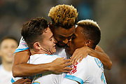 Florian Thauvin, Jordan Amavi and Clinton Njie during the French Championship Ligue 1 football match between Olympique de Marseille and Toulouse FC on September 24, 2017 at Orange Velodrome stadium in Marseille, France - Photo Philippe Laurenson / ProSportsImages / DPPI