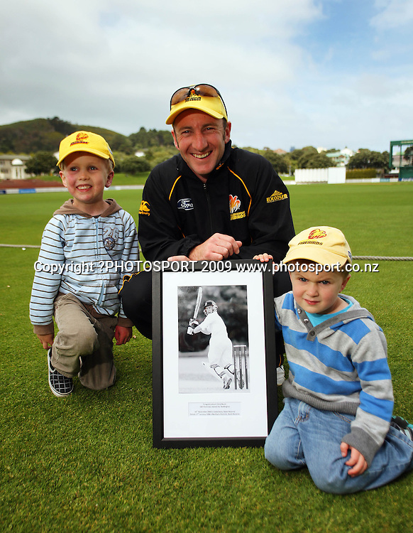 Wellington keeper Chris Nevin, who celebrates his 100th match today, with his kids Charlie (left) and Harry.<br /> Plunket Shield cricket - Wellington Firebirds v Canterbury Wizards at Allied Nationwide Finance Basin Reserve, Wellington. Tuesday, 10 November 2009. Photo: Dave Lintott/PHOTOSPORT