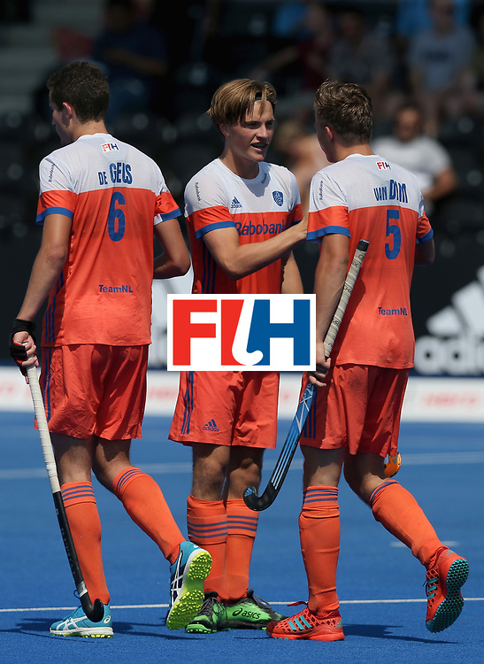 LONDON, ENGLAND - JUNE 19: Jorrit Croon of the Netherlands celebrates scoring his sides second goal with teammates Jonas de Geus and Thijs van Dam during the Hero Hockey World League Semi-Final match between Netherlands and Canada at Lee Valley Hockey and Tennis Centre on June 19, 2017 in London, England. (Photo by Alex Morton/Getty Images)