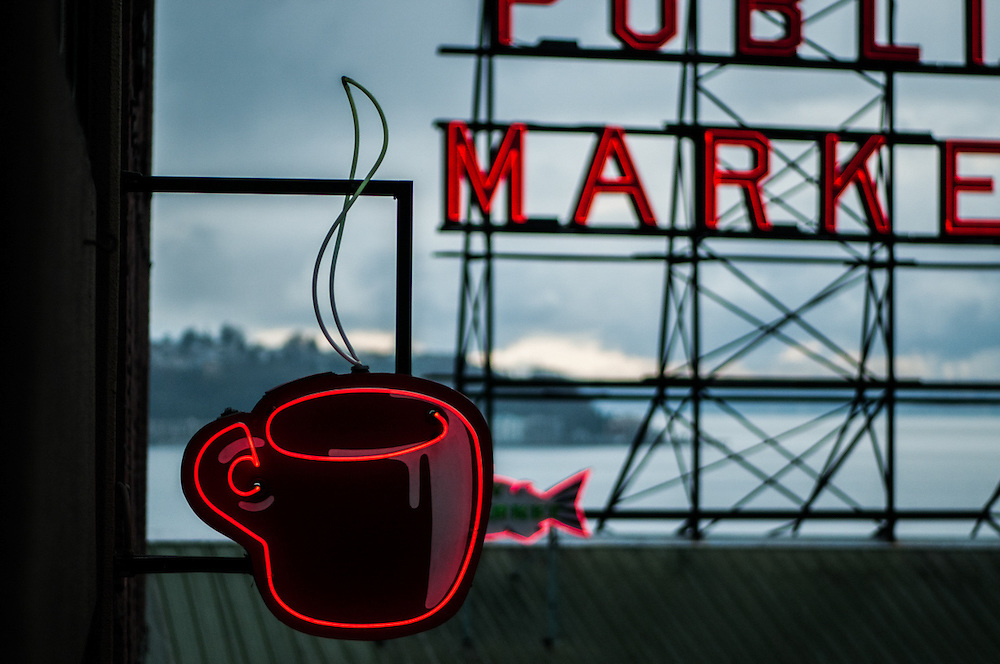 The iconic coffee cup blade sign in Seattle's Public Market