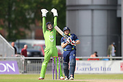 Big shout by Lanc's stand in keeper Dane Vilas during the Specsavers County Champ Div 1 match between Lancashire County Cricket Club and Durham County Cricket Club at the Emirates, Old Trafford, Manchester, United Kingdom on 20 May 2018. Picture by George Franks.