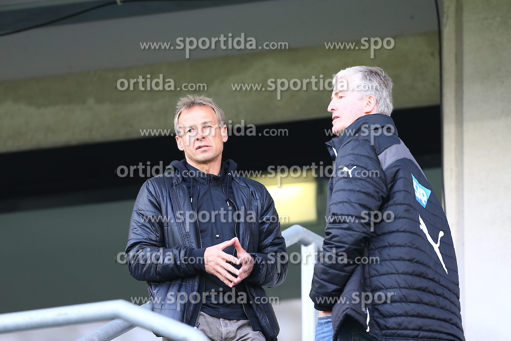 09.11.2013, Rhein Neckar Arena, Sinsheim, GER, 1. FBL, TSG 1899 Hoffenheim vs Hertha BSC, 12. Runde, im Bild Juergen Klinsmann (Nationaltrainer der USA) im Gespraech mit Bernhard Peters, Emotionen // during the German Bundesliga 12th round match between TSG 1899 Hoffenheim and Hertha BSC at the Rhein Neckar Arena in Sinsheim, Germany on 2013/11/09. EXPA Pictures &copy; 2013, PhotoCredit: EXPA/ Eibner-Pressefoto/ Neis<br /> <br /> *****ATTENTION - OUT of GER*****