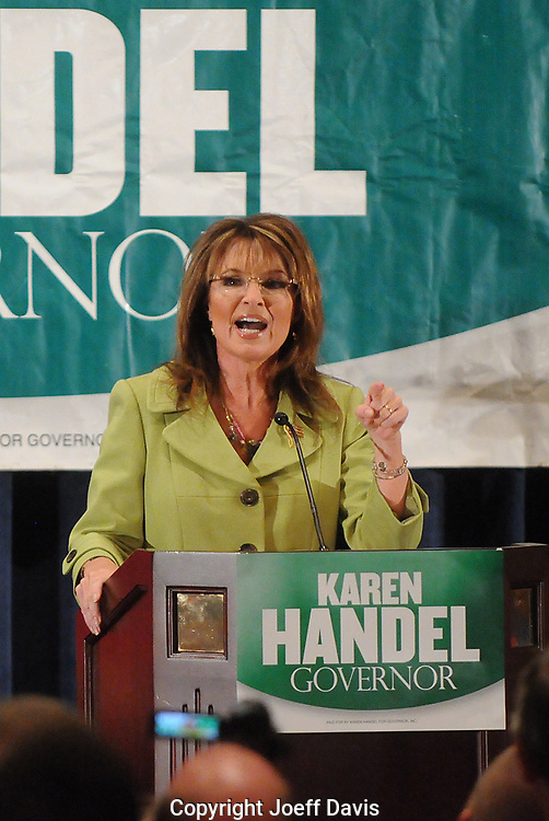 ATLANTA, GA - August 9, 2010: Sarah Palin endorsing Karen Handel in the Georgia Republican Gubernatorial Runoff for governor at the Buckhead InterContinental Hotel. &quot;Are you ready to elect a pro-life, pro-Second Amendment, commonsense constitutional conservative, who will fight like a mama grizzly for you and the values that you hold dear?&quot; Palin asked the packed ballroom of an estimated 3000 people. <br /> <br /> Handel lost the runoff to Nathan Deal one day later.