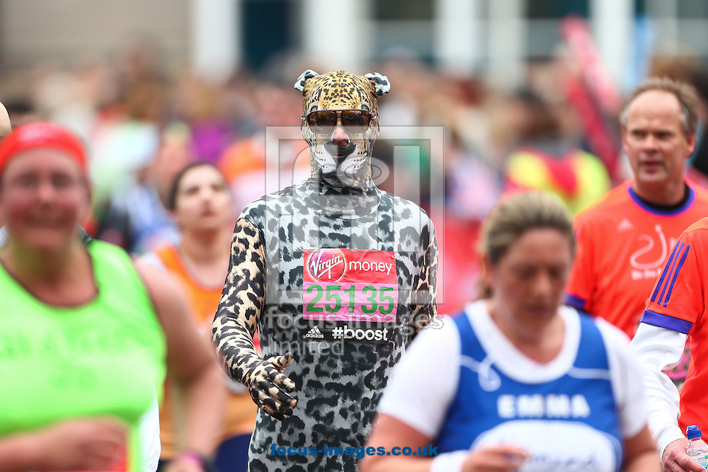 Someone who's as cool as a cat pictured during the Virgin London Marathon. <br /> Picture by Ryan Dinham/Focus Images Ltd +44 7900 436859<br /> 26/04/2015