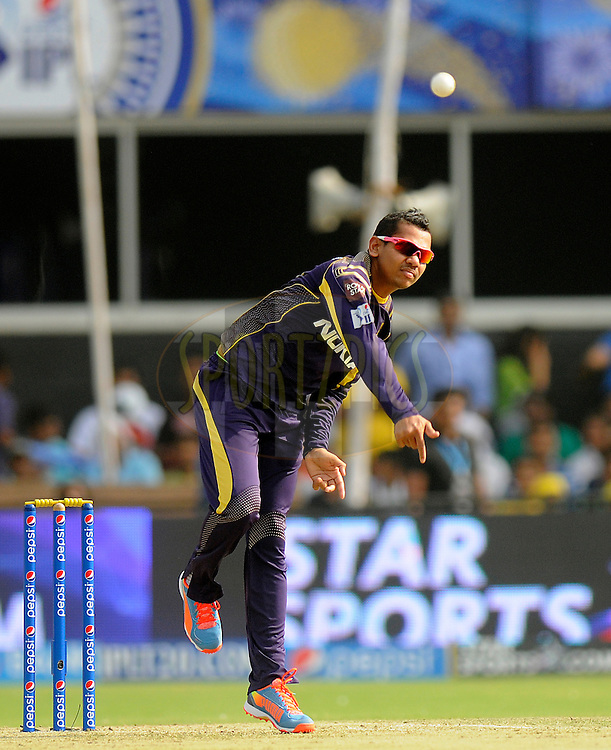 Sunil Narine of the Kolkata Knight Riders bowls during match 25 of the Pepsi Indian Premier League Season 2014 between the Rajasthan Royals and the Kolkata Knight Riders held at the Sardar Patel Stadium, Ahmedabad, India on the 5th May  2014<br /> <br /> Photo by Pal Pillai / IPL / SPORTZPICS      <br /> <br /> <br /> <br /> Image use subject to terms and conditions which can be found here:  http://sportzpics.photoshelter.com/gallery/Pepsi-IPL-Image-terms-and-conditions/G00004VW1IVJ.gB0/C0000TScjhBM6ikg