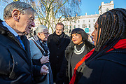 Lord Alf Dubs, Vanessa Redgrave CBE, Diane Abbot MP and Bell Ribeiro-Addy MP<br /> join supporters of the Child Refugee charity Safe Passage calling on Peers in the House of Lords to back an amendment and uphold refugee family reunion on the 20th of January 2020, Parliament Square, Westminster, London, United Kingdom. 95% of the children currently receiving legal support from the charity Safe Passage International to reunite with relatives in the UK would not be eligible for family reunion under current UK Immigration Rules. (photo by Andrew Aitchison / In Pictures via Getty Images)