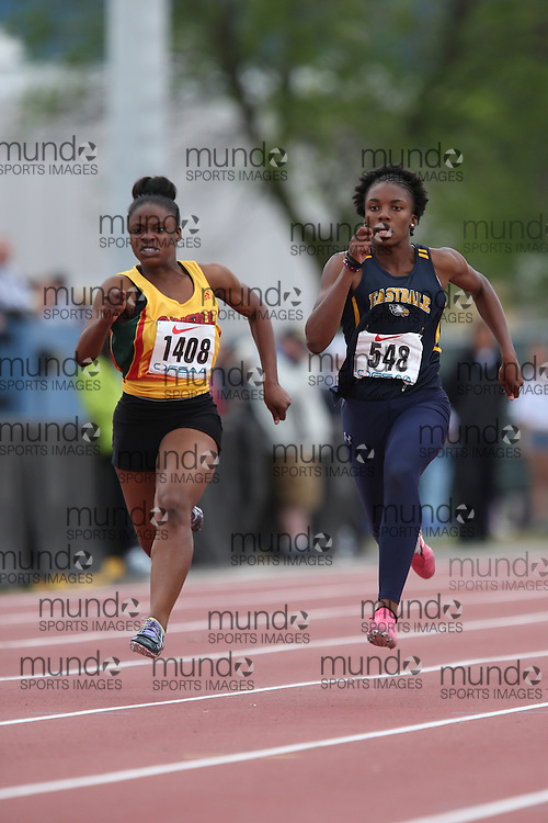 Mariam Abdul-Rashid of Eastdale CVI - Oshawa competes in the 100m heats at the 2013 OFSAA Track and Field Championship in Oshawa Ontario, Thursday,  June 6, 2013.<br /> Mundo Sport Images / Sean Burges
