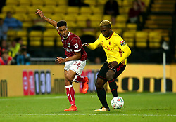 Zak Vyner of Bristol City takes on Isaac Success of Watford - Mandatory by-line: Robbie Stephenson/JMP - 22/08/2017 - FOOTBALL - Vicarage Road - Watford, England - Watford v Bristol City - Carabao Cup
