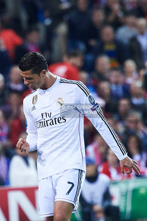 Cristiano Ronaldo (Real Madrid F.C.) in action during the Champions League, round of 4 match between Atletico de Madrid and Real Madrid at Estadio Vicente Calderon on April 14, 2015 in Madrid, Spain