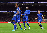 Football - 2019 / 2020 Premier League - Tottenham Hotspur vs. Chelsea<br /> <br /> Chelsea's Tammy Abraham celebrates Willian's opening goal, at The Tottenham Hotspur Stadium.<br /> <br /> COLORSPORT/ASHLEY WESTERN