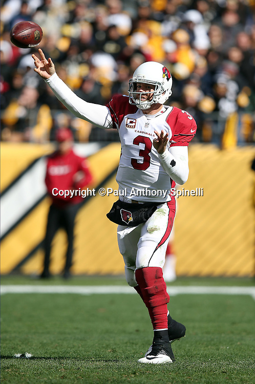 Arizona Cardinals quarterback Carson Palmer (3) throws a completed pass to Arizona Cardinals wide receiver Larry Fitzgerald (11) for a 44 yard gain to the Pittsburgh Steelers 34 yard line in the second quarter during the 2015 NFL week 6 regular season football game against the Pittsburgh Steelers on Sunday, Oct. 18, 2015 in Pittsburgh. The Steelers won the game 25-13. (©Paul Anthony Spinelli)