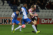 Rob Dickie shoots wide during the The FA Cup match between Hartlepool United and Cheltenham Town at Victoria Park, Hartlepool, England on 7 November 2015. Photo by Antony Thompson.