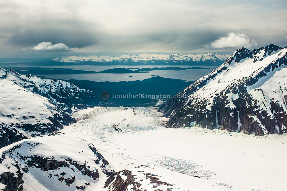 Aerial view of the Herbert Glacier, Juneau Icefield, Alaska.