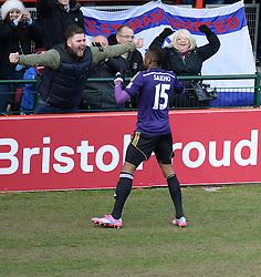 West Ham's Diafra Sakho celebrates with a fan. - Photo mandatory by-line: Alex James/JMP - Mobile: 07966 386802 - 25/01/2015 - SPORT - Football - Bristol - Ashton Gate - Bristol City v West Ham United - FA Cup Fourth Round