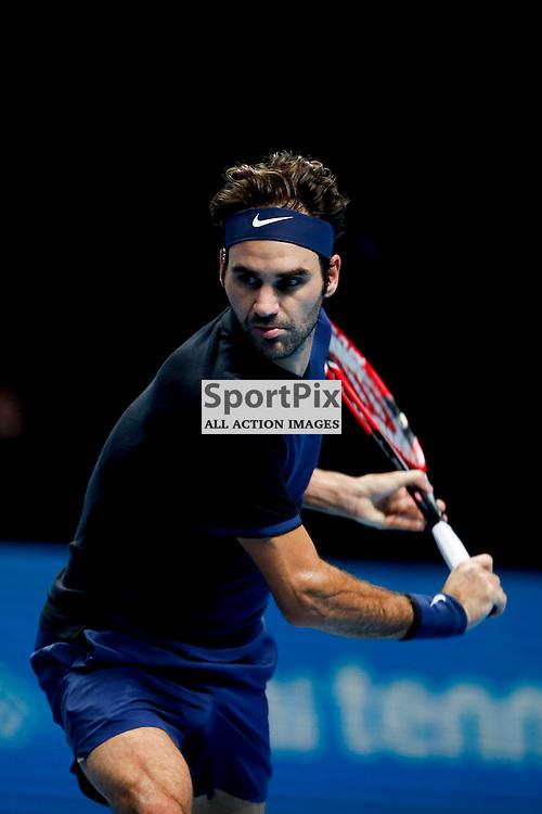 Roger Federer's backhand during a semi-final match between Roger Federer and Stan Wawrinka at the ATP World Tour Finals 2015 at the O2 Arena, London.  on November 21, 2015 in London, England. (Credit: SAM TODD | SportPix.org.uk)