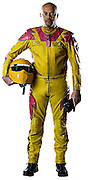 Motorcycle drag racer Glen Nickleberry in racing leathers on white background