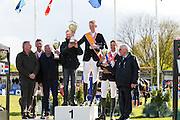 Podium Nederlands Kampioenschap Senioren 1. Frank Schuttert & Go Easy de Muze, 2. Jur Vrieling & VDL Zirocco Blue N.O.P., 3. Leopold van Asten & VDL Groep Zidane<br /> CH Mierlo 2016<br /> © DigiShots