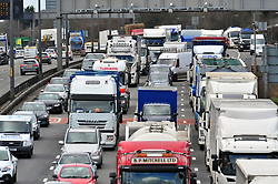 &copy; Licensed to London News Pictures.29/03/2018<br /> Dartford, UK.<br />  Maundy Thursday Easter traffic chaos has started early on the A282 (Anti clock-wise towards M25) near Queen Elizabeth II Bridge in Dartford,Kent. <br /> Photo credit: Grant Falvey/LNP