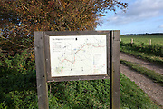 Map of the Ridgeway long distance footpath dating from prehistory near its start on Overton Hill, Marlborough Downs, Wiltshire, England,UK