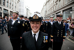 © Licensed to London News Pictures. LONDON, UK  02/07/11. Members of the Royal Navy take part in London's Pride March. 21 floats and around a million people flocked to Central London for the festival which celebrates the diversity within the LBGT (lesbian, gay, bisexual and transgender) community.  Please see special instructions for usage rates. Photo credit should read Matt Cetti-Roberts/LNP