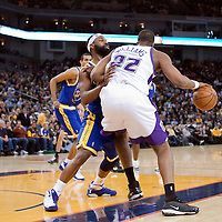 08 April 2008: Golden State Warriors guard Baron Davis is seen on defense against Sacramento Kings Shelden Williams during the Golden State Warriors 140-132 victory over the Sacramento Kings at the Oracle  Arena, in Oakland, California, USA.
