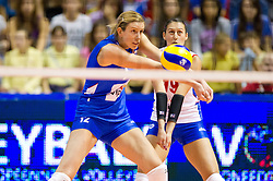 24.09.2011, Hala Pionir, Belgrad, SRB, Europameisterschaft Volleyball Frauen, Vorrunde Pool A, Serbien (SRB) vs. Frankreich (FRA), im Bild Jelena Nikolic (#12 SRB), Silvija Popovic (#19 SRB) // during the 2011 CEV European Championship, First round at Hala Pionir, Belgrade, SRB, 2011-09-24. EXPA Pictures © 2011, PhotoCredit: EXPA/ nph/  Kurth       ****** out of GER / CRO  / BEL ******