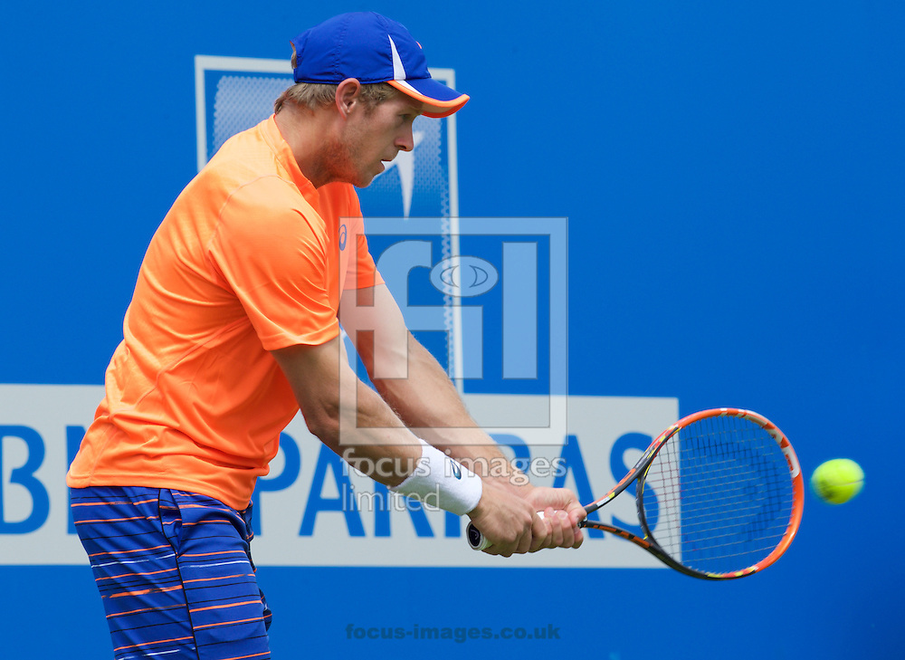 Brydan Klein (GBR) during his second round qualifying match against Paul-Henri Mathieu (FRA) at Aegon Championships at the Queen's Club, West Kensington<br /> Picture by Alan Stanford/Focus Images Ltd +44 7915 056117<br /> 14/06/2015