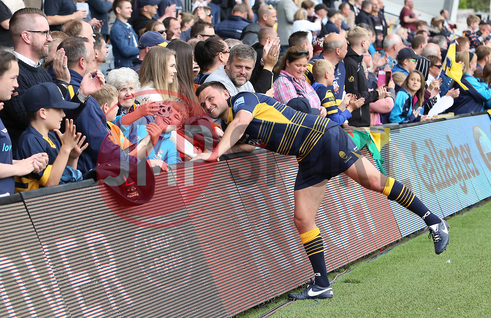 Jonny Arr of Worcester Warriors has a selfie with a supporter during the lap of honour - Mandatory by-line: Joe Dent/JMP - 18/05/2019 - RUGBY - Sixways Stadium - Worcester, England - Worcester Warriors v Saracens - Gallagher Premiership Rugby