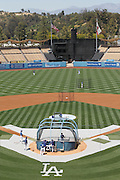 LOS ANGELES - MAY 30:  Wide angle general view of the stadium and players taking batting practice prior to the game between the Colorado Rockies and the Los Angeles Dodgers on Monday, May 30, 2011 at Dodger Stadium in Los Angeles, California. The Dodgers won the game 7-1. (Photo by Paul Spinelli/MLB Photos via Getty Images)