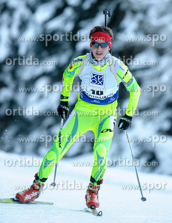 25.01.2013, Biathlonzentrum, Obertilliach AUT, IBU, Jugend und Junioren Weltmeisterschaften, Sprint Jugend Maenner, im Bild Miha Dovzan (SLO) // Miha Dovzan from Slovenia during the Sprint Youth Mens of IBU Youth  and Juniors World Championships at Biathloncenter, Obertilliach, Austria on 2013/01/25 . EXPA Pictures © 2013, PhotoCredit: EXPA/ Michael Gruber