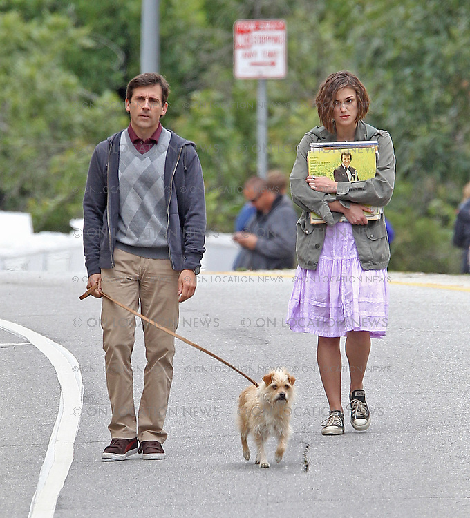 "***EXCLUSIVE***Steve Carell, Keira Knightley and a dog with the character name ""Sorry"" film a scene for ""Seeking a Friend for the End of the World"". In this scene, the trio walk down the street trying to hitch a ride. As  Knightley carries some vinyl record albums, Carell pulls out a letter as they argue about something. Knightley manages to flag down a truck driver who is played by former ""CSI"" lead actor William Peterson. On set the previous day, Carell & Knightley filmed a scene in which they shot the truck driver and buried him in a field but accidentley also buried the truck's keys in the proccess. May 18th, 2011  Los Angeles, CA.  Photo by Eric Ford/ On Location News 818-613-3955  info@onlocationnews.com"