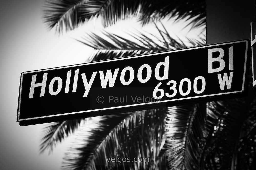 Hollywood Boulevard street sign black and white picture. High resolution photo was taken in the Hollywood district of Los Angeles in Southern California.