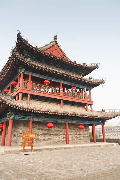 The main gate tower on the south gate, at the city wall, Xi'an, Shaanxi Province, China
