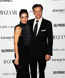 Livia Firth; Colin Firth, Harper's Bazaar Women of the Year Awards, Claridge's Hotel, London UK, 05 November 2013, Photo by Richard Goldschmidt © Licensed to London News Pictures. Photo credit : Richard Goldschmidt/Piqtured/LNP
