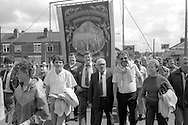 Church Lane Dodworth banner, 1985 Yorkshire Miner's Gala. Rotherham.