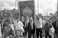 Church Lane Dodworth banner, 1985 Yorkshire Miner's Gala. Rotherham.