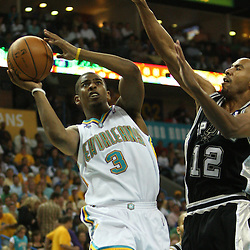 05 May 2008: New Orleans Hornets guard Chris Paul #3 shoots over Spurs guard Bruce Bowen #12 in the second half of the NBA Playoff Semi-Finals Game 2, a 102-84 victory by the New Orleans Hornets that gave the team a 2-0 series lead over the defending NBA Champion San Antonio Spurs at the New Orleans Arena in New Orleans, LA.