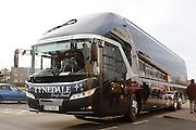 Newcastle United team bus arrives at Burton during the EFL Sky Bet Championship match between Burton Albion and Newcastle United at the Pirelli Stadium, Burton upon Trent, England on 17 December 2016. Photo by Richard Holmes.
