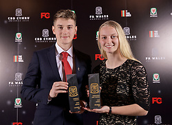 CARDIFF, WALES - Thursday, March 21, 2019: Wales' David Brooks (L) and Elise Hughes (R) with their Player of the Year awards during the Football Association of Wales Awards 2019 at the Hensol Castle. (Pic by David Rawcliffe/Propaganda)