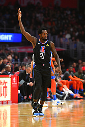 March 9, 2019 - Los Angeles, CA, U.S. - LOS ANGELES, CA - MARCH 08: Los Angeles Clippers Guard Patrick Beverley (21) asks for noise from the crowd during a NBA game between the Oklahoma City Thunder and the Los Angeles Clippers on March 8, 2019 at STAPLES Center in Los Angeles, CA. (Photo by Brian Rothmuller/Icon Sportswire) (Credit Image: © Brian Rothmuller/Icon SMI via ZUMA Press)